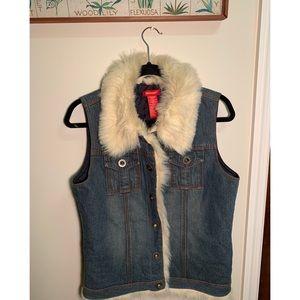 Y2K | Blue Asphalt Fur Lined Denim Vest